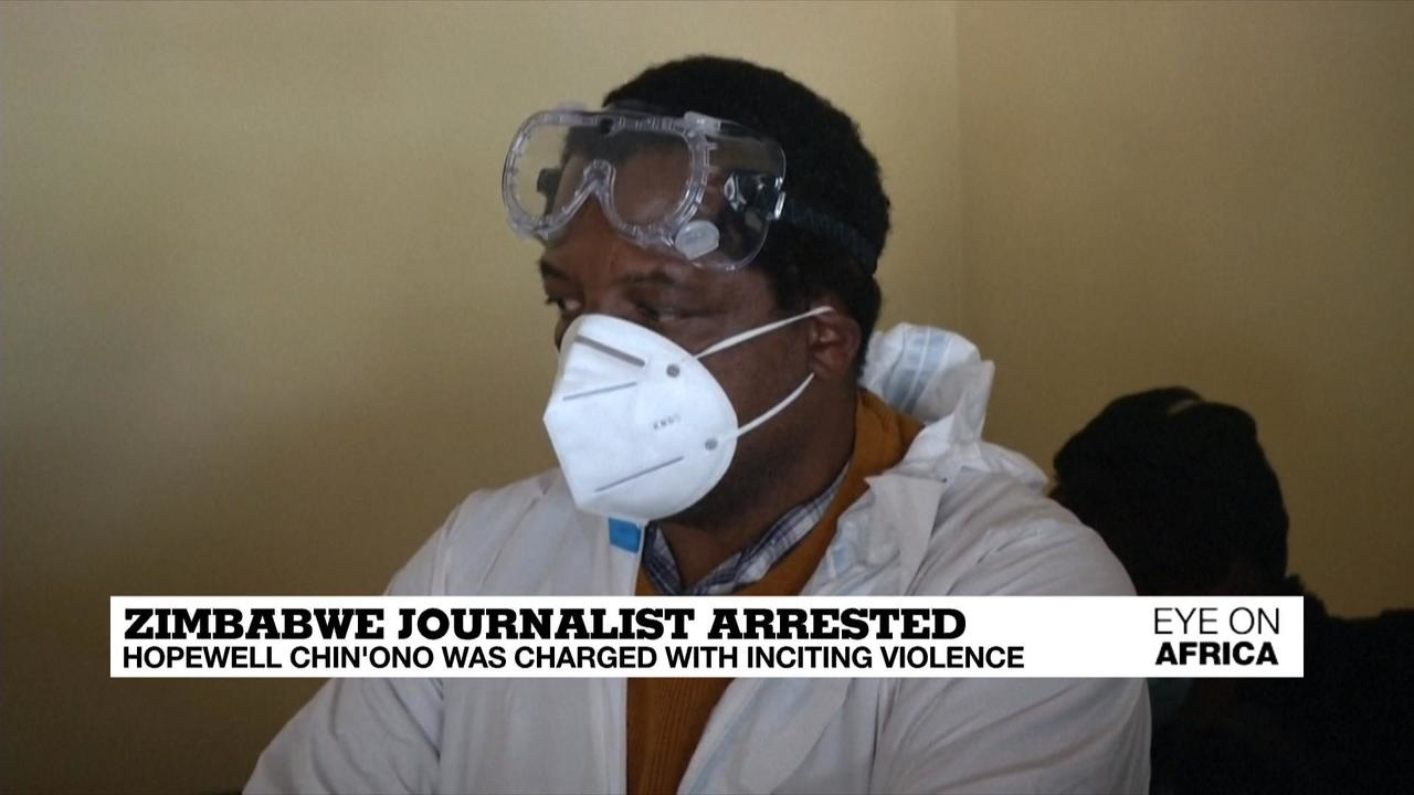 Photo of Zimbabwe journalist arrested: Hopewell Chin'ono was charged with inciting violence
