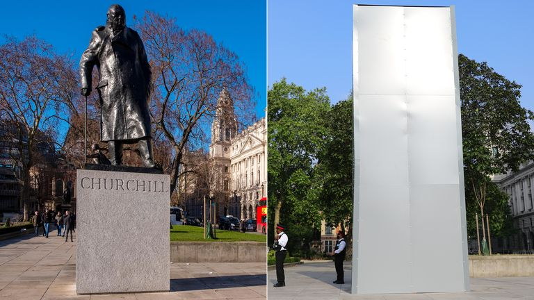 Photo of Churchill statue vandalised again as topless activists chain themselves to railings